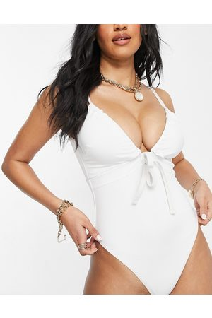 ASOS Fuller bust recycled ruched tie swimsuit in white