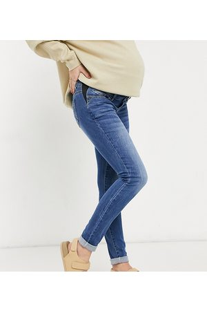 Mama Licious Mamalicious Maternity slim fit straight leg jeans in blue