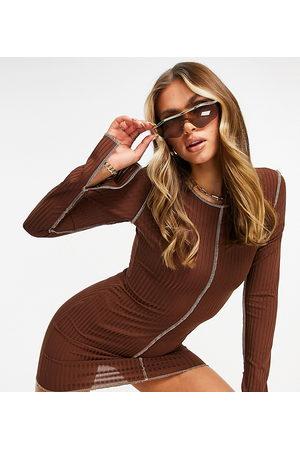 Missyempire Exclusive contrast stitch mini dress in chocolate