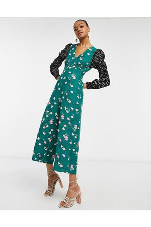 ASOS Double puff sleeve jumpsuit in mixed floral spot print