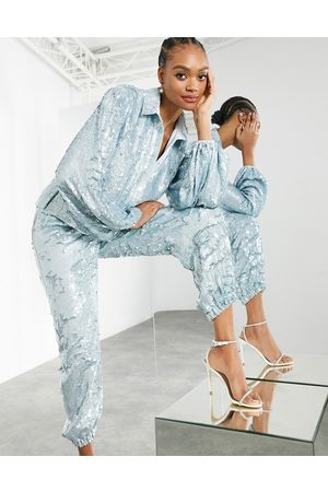 ASOS Sequin jogger in pale blue co