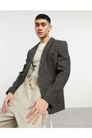 ASOS Harris tweed 100% wool slim suit jacket in brown herringbone
