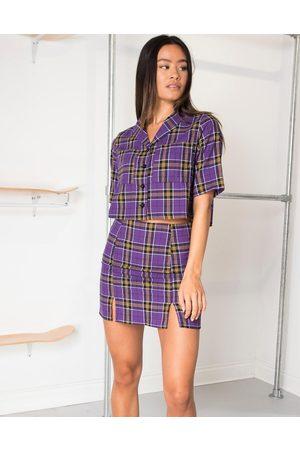 Vintage Checkered Pattern Purple Crop Top