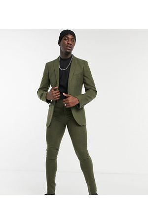 ASOS Tall skinny wool mix suit trousers in khaki twill