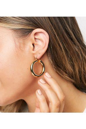 ASOS 14k gold plate tube hoop earrings in 35mm tube design