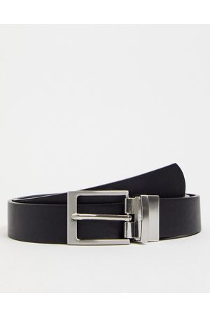 ASOS Slim reversible belt in black and suede faux leather
