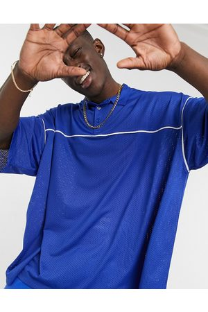 ASOS Oversized polo shirt in blue mesh
