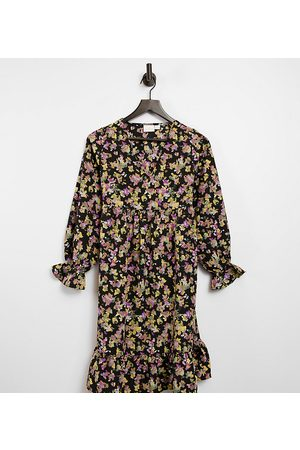Mama Licious Mamalicious Maternity mini smock dress with frill cuff in floral