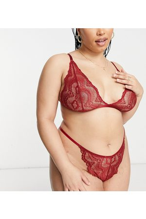 ASOS ASOS DESIGN Curve Rosie lace thong in red