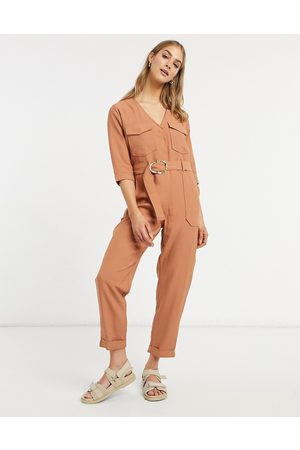 Native Youth Tie waist jumpsuit in caramel