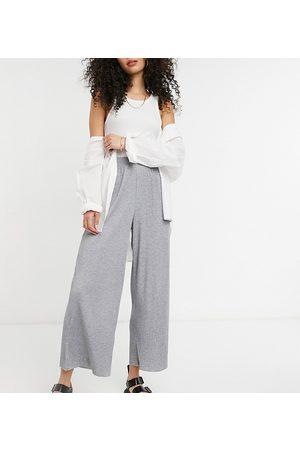 ASOS ASOS DESIGN Tall plisse culotte trousers in grey marl