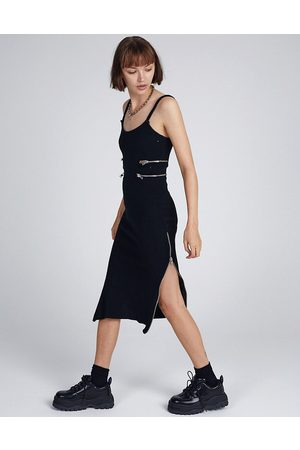 The Ragged Priest Midi cami dress with zip cut outs in rib