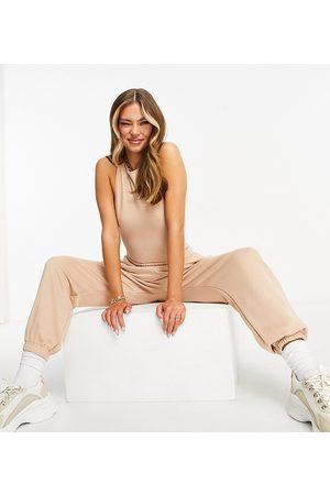 Missyempire Exclusive high waist jogger in sand