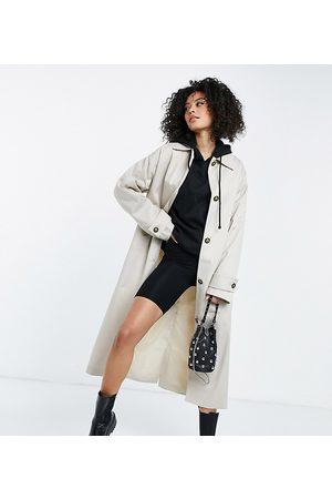 ASOS ASOS DESIGN Tall longline trench coat in stone