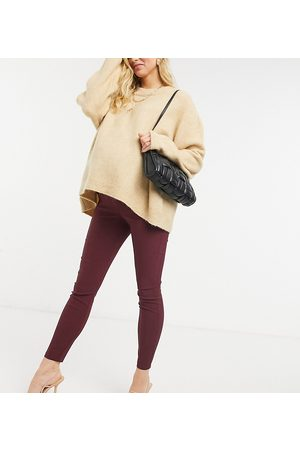 ASOS ASOS DESIGN Maternity over the bump high waist trousers in skinny fit in claret