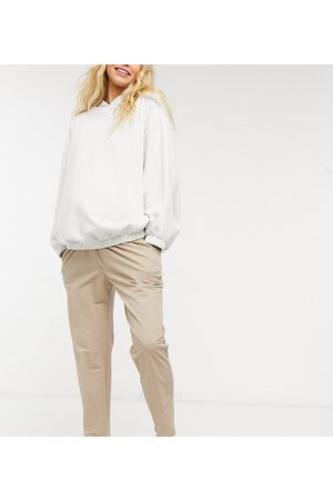 ASOS ASOS DESIGN Maternity linen look peg trouser in stone