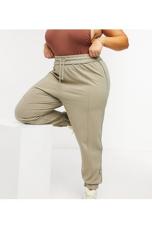 COLLUSION Plus exclusive washed joggers with seam detail in khaki