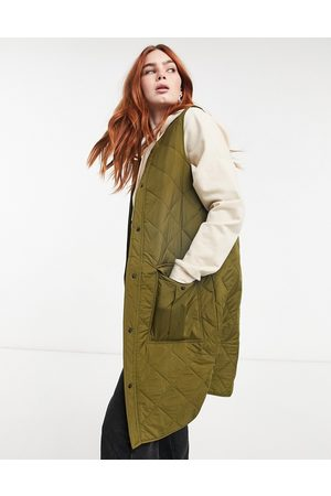 JDY Quilted longline gilet with pockets in khaki