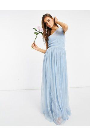 ANAYA Mujer Vestidos de noche - With Love Bridesmaid tulle one shoulder maxi dress in soft blue