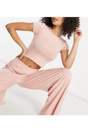 Missguided Crop top and wide leg trouser pyjama set in pink