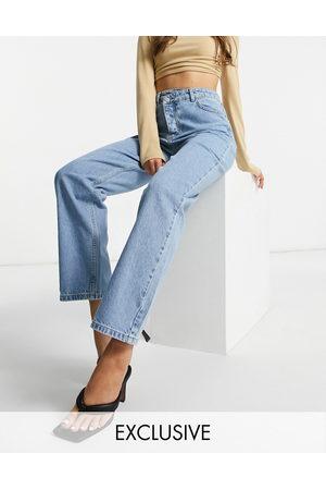 I saw it first Mujer De cintura alta - Double button waist detail straight leg jean in blue