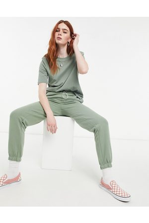 Only Cuffed jogger with drawstring waist in green