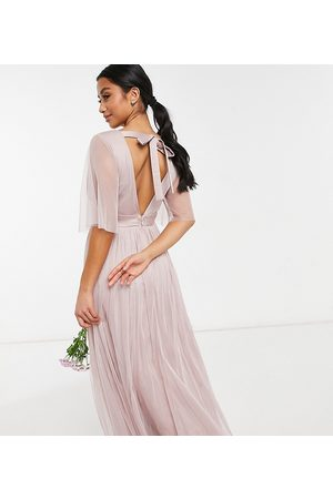 ANAYA Anaya With Love Petite Bridesmaid tulle flutter sleeve maxi dress in pink