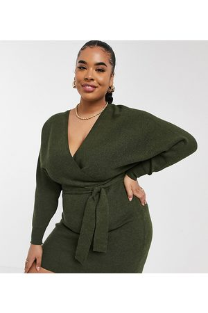 Outrageous Fortune Knitted wrap detail pencil dress with belt detail in khaki