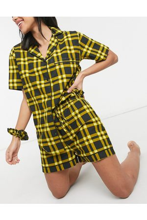 Daisy Street Short sleeve shirt and shorts pyjama set with scrunchie in 90's check