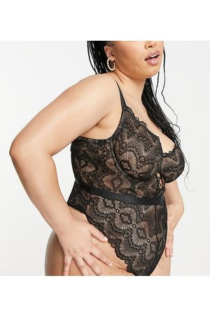 ASOS ASOS DESIGN Curve Rosie lace underwired body in black