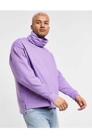 ASOS Oversized sweatshirt with funnel neck and side splits in lilac