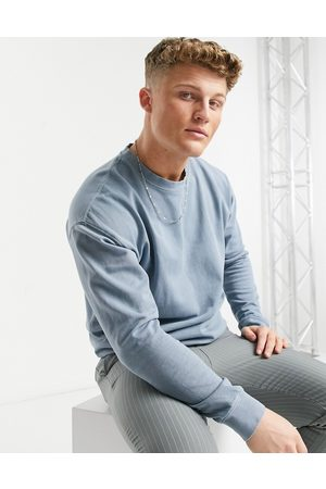 New Look Washed sweat with embroidered NLM print in blue