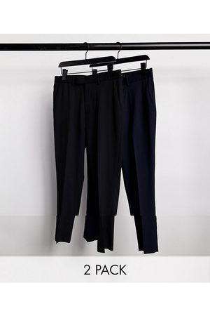 ASOS 2 pack skinny trousers in black and navy SAVE