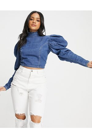 Missguided Denim top with high neck and puff sleeve in blue