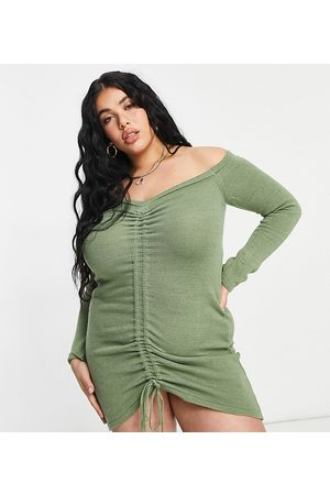 Fashionkilla Plus Knitted ruched detail off shoulder dress in stone