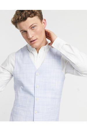 ASOS Wedding skinny suit waistcoat in pastel blue crosshatch