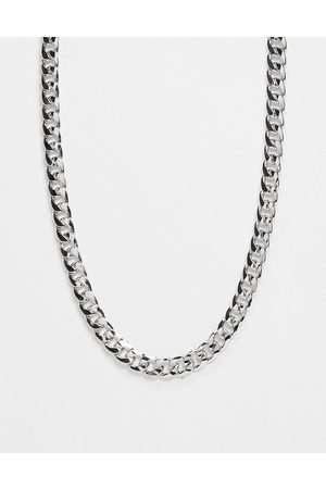 DesignB London Chunky chain long necklace in silver