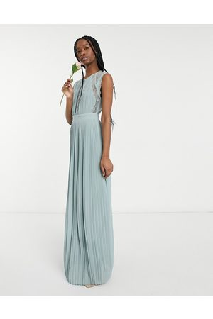 TFNC Bridesmaid lace insert plunge front maxi dress in sage