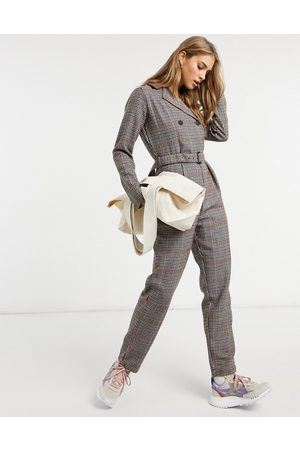 Native Youth Tailored jumpsuit in brown check