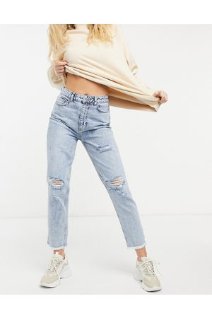 New Look Acid wash ripped mom jeans in light blue