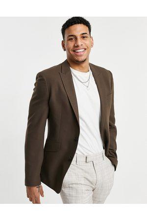 ASOS Summer wedding range super skinny suit jacket in brown micro texture