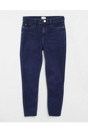 River Island Molly skinny jeans in dark auth blue