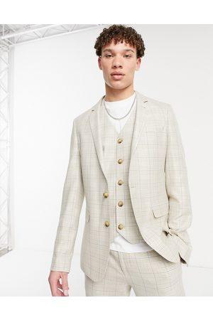 ASOS Summer wedding range super skinny suit jacket in camel with stripe