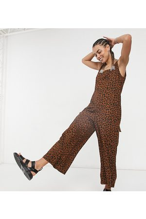 Native Youth Tie shoulder oversized dungaree jumpsuit in leopard