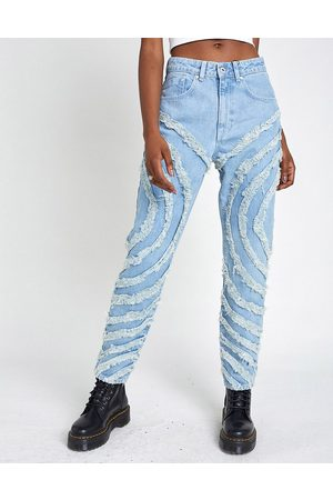 The Ragged Priest Mom jeans with circle fray panels in light wash