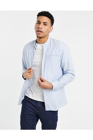 Selected Grandad shirt in blue stripe