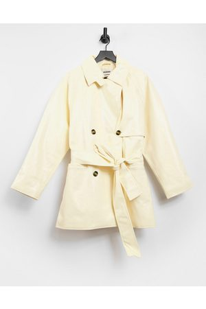 Weekday Janis short trench coat in cream patent