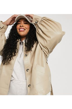 ASOS Curve faux leather jacket with sleeve drama in putty