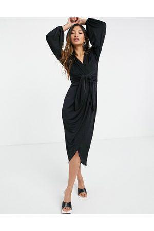 Closet Twist wrap front jersey wrap dress in black