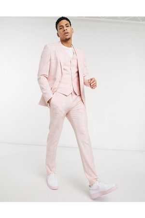 ASOS Wedding skinny suit trousers in pastel pink crosshatch